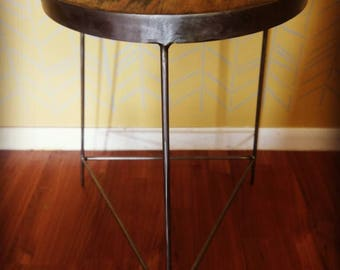 Handmade steel and wood plant stand