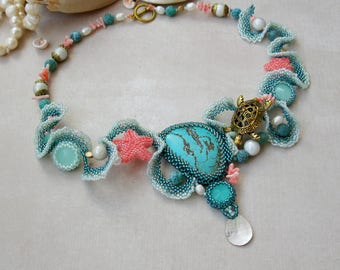 Nautical necklace, marine beaded summer jewelry, turtle necklace, sea star, sea wave necklace , mermaid pendant, natural pearls, coral OOAK