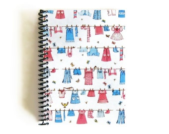 Kids Clothes Line Notebook A5 Spiral Bound - Blank Sketchbook, 5x7 Inches Baby Shower Cute Writing Journal, Children Clothes, Gifts Under 25