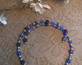 Blue Beaded Choker Necklace, Choker, Memory Wire Necklace