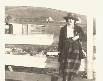 "Vintage Snapshot ""At The Railroad Station"" Teenage Girl Plaid Skirt Found Vernacular Photo Trains Broad-Brimmed Hat"