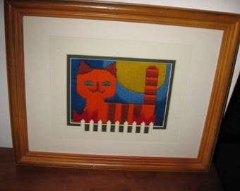 """FOLK ART CAT Embroidery The Look And Colors Of The Seventies Matted In White Fence Motif Matt, Wood Frame 12"""" x 15 1/2"""""""