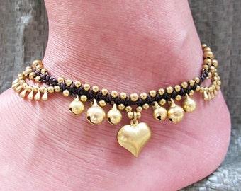 Boho Ankle Bracelet with Heart Charm