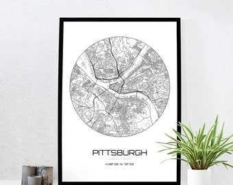 Pittsburgh Map Print - City Map Art of Pittsburgh Pennsylvania Poster - Coordinates Wall Art Gift - Travel Map - Office Home Decor