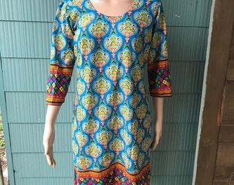 Vintage Hot Air Balloon Paisley Print Indian Style Tunic Dress size Medium