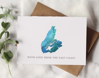 Set of 6 Blue Cape Breton Map, with love from the east coast watercolour cards with envelopes