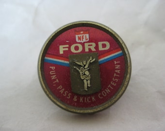 NFL Ford Punt Pass Kick Tie Tack Pin Gold Red Vintage Lapel Brooch Contestant
