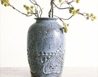 Vintage Studio Pottery Vase / Signed / Dated 1975 / Boho Decor / Tree of Life