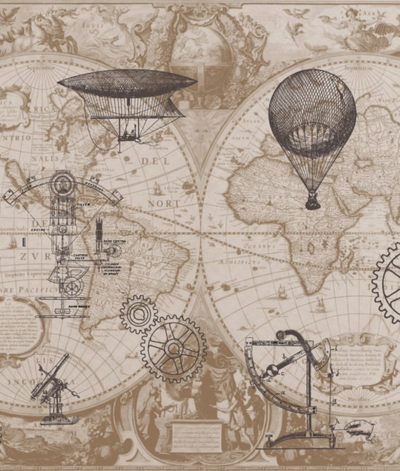 Steampunk style shower curtain hot air balloons vintage steampunk style shower curtain hot air balloons vintage illustrations gears home decor bathroom world map antique brown beige sciox Gallery