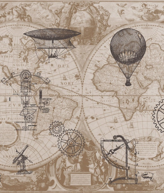 Steampunk Style Shower Curtain   Hot Air Balloons, Map, Antique Brown, Beige