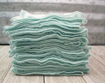 Unpaper Towels - Birdseye Cotton Kitchen Towel - Reusable Napkin - Eco Friendly Housewarming Gift - Pack of 12 with a Mint Green Border