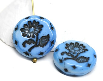 18mm Blue Flower beads, 2pc Earrings pair Czech glass Round tablet floral ornament beads, Blue mixed color - 2pc - 0103
