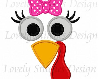 Thanksgiving Girl Turkey Face Applique Machine Embroidery Design NO:0572