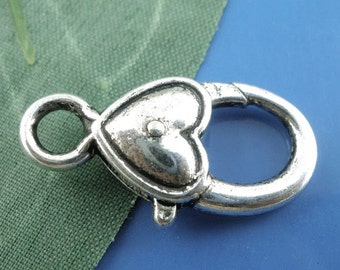 20 pcs. Antique Silver Heart Lobster Clasps - 27mm X 13mm (1 inch) - Claw Clasps