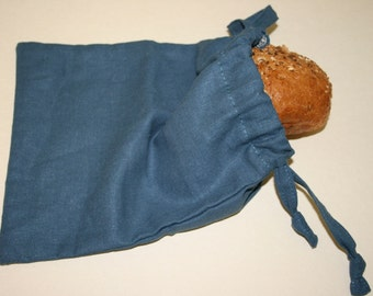 Linen Sandwich Bag, Lunch Linen Bag, Blue Linen Sandwich Bag, Small Linen Bag, Linen Bag,  Blue Linen Bag, Blue Lunch Bag