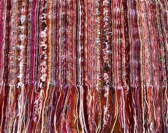 Beautiful Large Hand Knit All Season Wrap Shawl/Throw - Rose, Maroon, Burgundy, Lavender