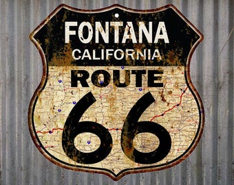 Fontana, California Route 66 Vintage Look Rustic 12X12 Metal Shield Sign S122078