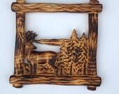 Burnt Pine Framed Deer in...