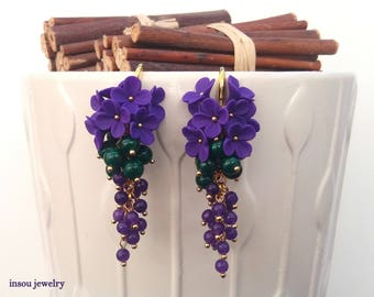 Purple Earrings, Statement Earrings, Dangle Earrings, Flower Earrings, Purple Green, Wedding Earrings, Elegant Earrings, Floral Jewelry