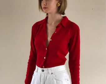 button front sweater / vintage cardigan / red knit top / vintage blouse / vintage sweater | XS S