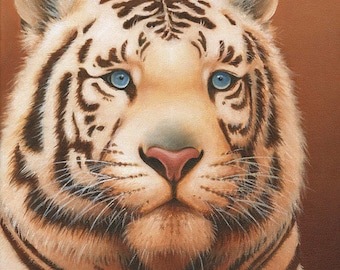 White Tiger Blank Inside Greeting Card, Notecards, Set of 5, with Envelopes, A2 Size