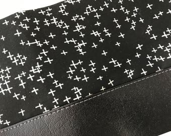 White Pluses Clutch with Faux Leather