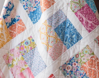 Wedding Gift for Couple, Handmade Quilt with Cotton Floral Prints, Damask & Stripes in Blue, Gold, Pink, Green, New Home Housewarming Gift