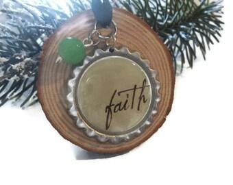 Faith Wood Ornament, Inspiring Rustic Wood Farmhouse Home Accent, Zipper Pull, Spiritual Christmas Ornament, Wire Trees, Ornaments & Accents