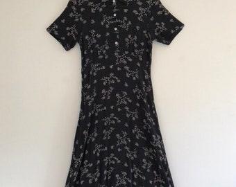 Vintage 70's Dandelion Print Maxi Dress S