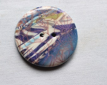 Large Button With Floral Ghost Image in White  1 1/4, 1 1/2 or Bronze 1 5/8-inch no. 363