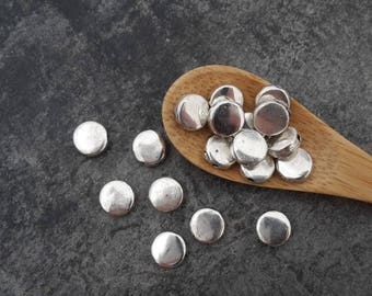 Silver round disc beads flat spacer beads, silver, 6 mm