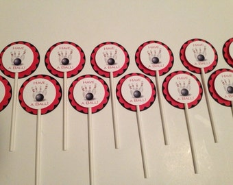 Bowling Party Cupcake Toppers, Have a BALL! , 3 Layers,  mounted on Pop Sticks, Set of 12