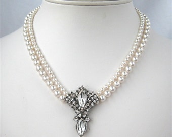 White Pearl Necklace, Rhinestone Pendant, Two Strand Silver Wedding Necklace, Clear Rhinestone Bridal Necklace, Crystal Pearls, Diana