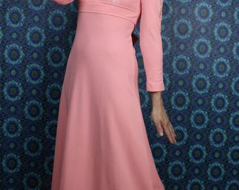 70's Pink DRESS Semi Formal // Prairie Lace Maxi Dress // Size Small