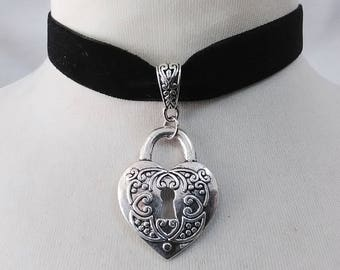 Heart lock  Charm Pendant , black  Velvet Ribbon Choker Necklace