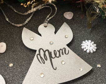 Remembrance Angel Christmas Tree Ornament  - Glittery
