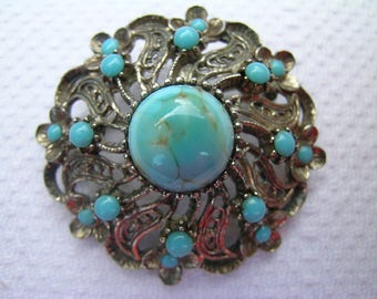 Lovely vintage mid century silver coloured metal round domed brooch set with faux turquoise cabochons