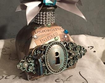 Altered bottle , mixed media bottle , shabby chic , steampunk decor , vintage style art bottle , perfume bottle