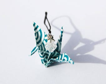 Accessory - Keychain - mobile Origami jewelry turquoise blue and white
