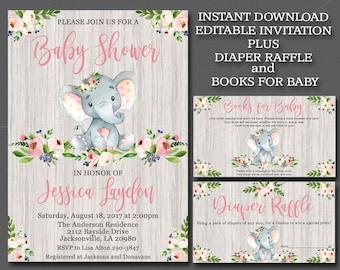 Elephant baby shower invitation etsy girl elephant baby shower invitation kit editable elephant invitation rustic invitation template book for baby filmwisefo