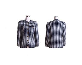 Vintage 90s Evan Picone Coat Petite 2 Jacket Blazer Blue White Geometric Evan Picone Petites Made in USA Gold Buttons Evening Career Jacket