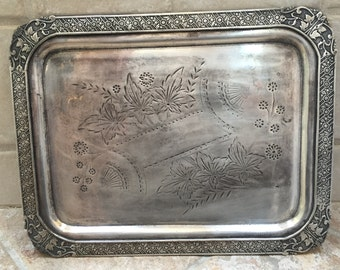 SALE Victorian Silver Platter Aesthetic Movement Ornate Silver Plated Tray Victoriana Rogers Silver Quadruple Plate Serving Tray Platter