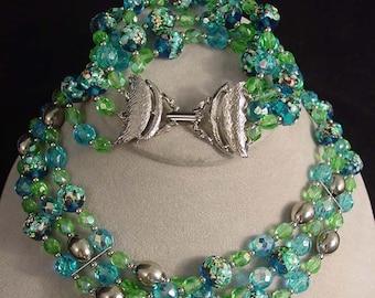 Summer Breezes Demi Parure Choker Necklace and Bracelet - Seafoam - Seashore - Ocean Blues and Greens with Art Glass