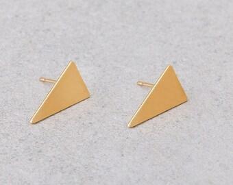 Geometric Stud Earrings, Minimalist Geometric Earrings, Gold Plated Earrings, Gold Post Earrings, Triangle Earrings, Gold Triangle Earrings