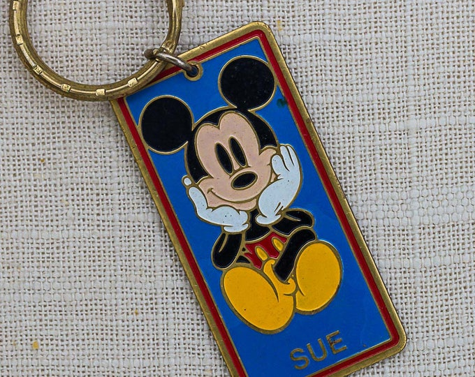 Mickey Mouse Vintage Keychain Name Sue Walt Disney World Key FOB Brass Key Chain 7FF