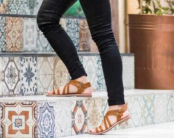 Sandals, Women Sandals, Leather brown gladiator sandals, Strappy sandals for women, Brown sandals, Greek sandals