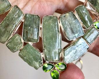 Rare Green Kyanite and Peridot Crystal Silver Chain Bib Necklace 75g