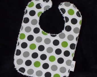 Lime Green and Black Polka Dot Chenille Boutique Bib - SALE