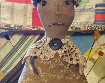 Primitive Pincushion Doll Pattern Epattern Antique Style Online Video Tutorial Free Standing Downloadable Printable Hickety Pickety