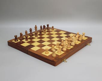 """18"""" Hand Carved Chess Set-High Quality Folding Board And Pieces-Large Solid Wood"""
